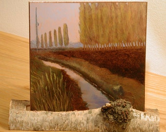 Small Landscape, Small Oil Painting, Daily Painting, Lombardy Poplar windbreaks in the fertile Skagit Valley farmland  OOAK