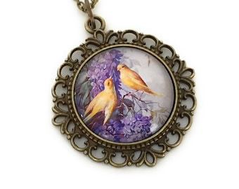 Lilac and Canary necklace - Bird necklace  - Vintage style pendant necklace - Gift for women - Mother's Day