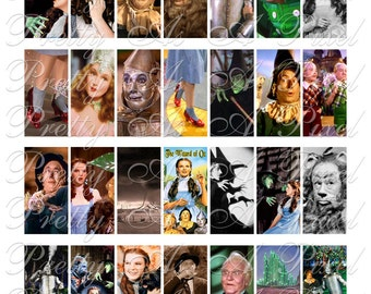 Wizard of Oz - Domino Size 1 x 2 inch - INSTANT DOWNLOAD - Digital Collage Sheet
