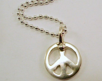 Sterling Silver Peace Sign Pendant Necklace