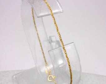 """Solid 14K Yellow Gold Fancy Twisted Round Link Bracelet  7"""", 1.1mm, 1.1 grams"""