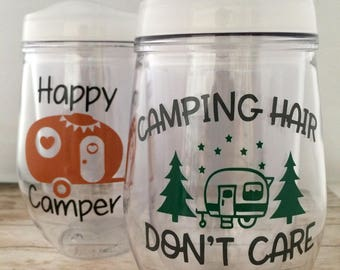 Camping Cup, Plastic Wine Glass, RV Camp, Personalized Bev 2 Go , Plastic cup lid, Reusable camping cup, hot cold Christmas straw, lake life