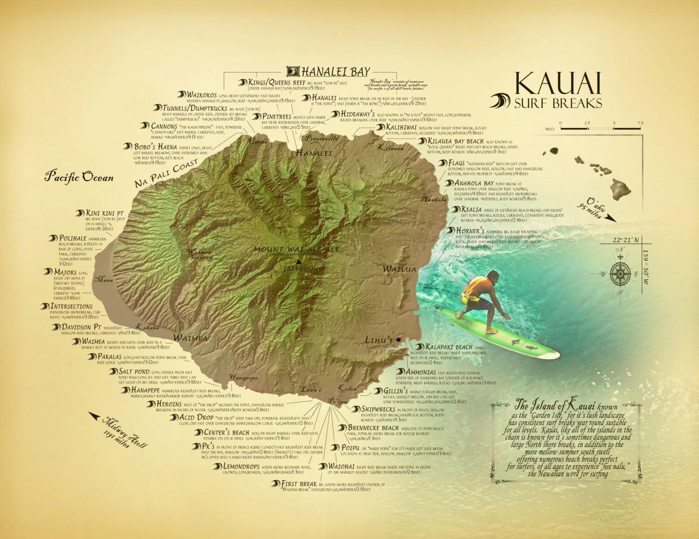 Kauai Surf Break Map 11 x 14 vintage inspired Hawaiian art