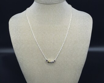 Shiny silver and gold nugget bead necklace