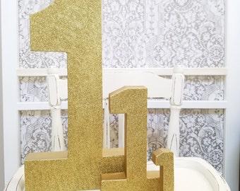 Paillettes d'or grand chiffres - Jumbo numéro 1 - premier anniversaire - décor de fête - fête de princesse - or anniversaire - anniversaire partie décor