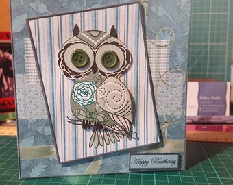 Button Owl Birthday card