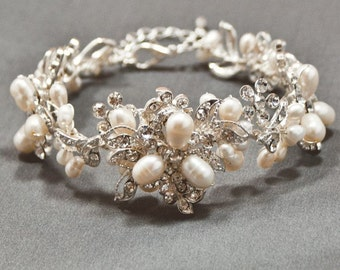 44B Handmade Flower Floral Genuine Pearl and Crystal Bridal Bracelet