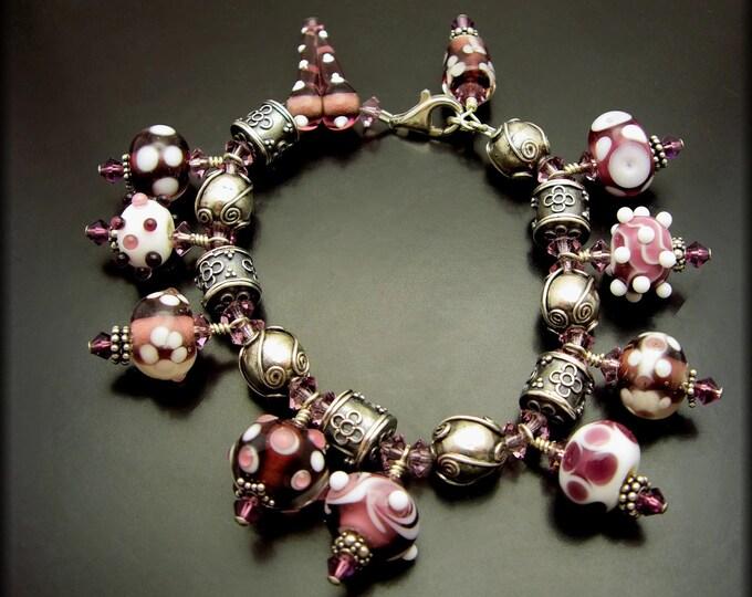 SUGAR PLUM ~ Purple Lampwork Glass, Swarovski Crystal, Sterling Silver Bracelet