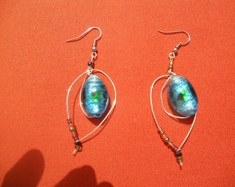 Earring with blue glass bead