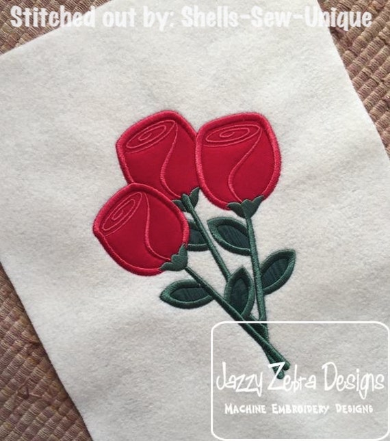 Roses 92 Appliqué embroidery Design - Valentines day appliqué design - Valentine appliqué design - roses appliqué design