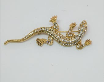 Faux Diamond And Gold Toned Lizard Pin
