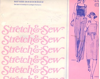 "Stretch & Sew 1540, Sz 2-20/Bust 28-42"". Ladies Knit Top/Camisole, Knit Summer/SunDress Pattern, UNCUT Ann Person Multisize pattern"