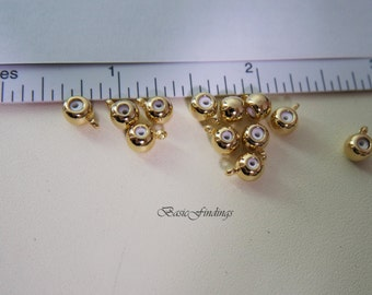 4 pc. Chain Stopper, Grip Slide Holder, Chain Slider Bead, Silicone Grip Slider Bead, Necklace Length Controller, Gold Plated