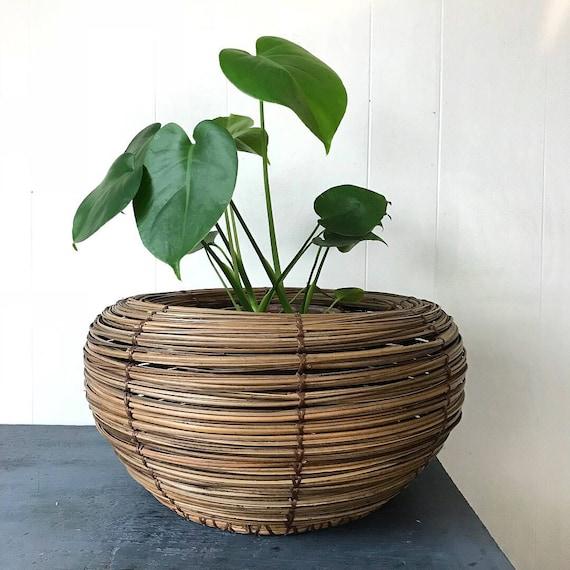 large bamboo coil basket - round dark brown rattan planter - boho home storage