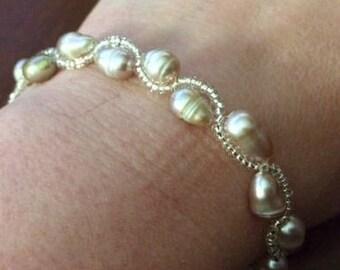 Handmade Pearl Colored Beaded Bracelet