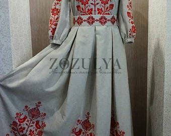 Gorgeous long linen embroidered dress, Ukrainian vyshyvanka