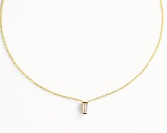 14k Gold Tapered Baguette Necklace