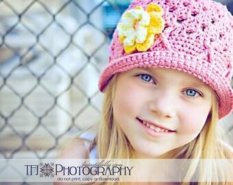 2T-4T Pink Bucket Hat, Crochet Bucket Hat, Childrens Hat, Bucket Hat for Girls, Pink Sun Hat, Pink Toddler Hat, Crochet Hat, Sun Hat