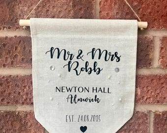 Cotton Anniversary Gift, Wedding Anniversary Gift, Wedding Gift, Personalised Gift, Fabric Banner, Home Decor, Mr and Mrs, Gifts for Couples