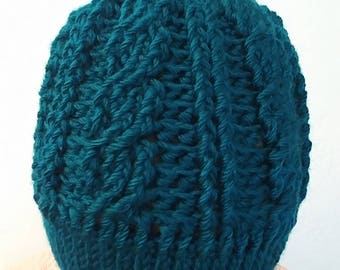Crochet cable hat with pom pom