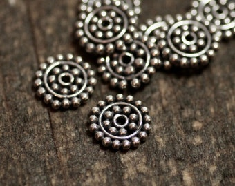 8.8mm Large Sun Daisy Spacer Beads, Bali Sterling Silver Disc, Choose Quantity, ST-72