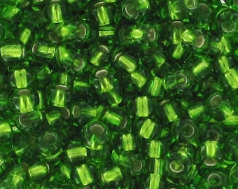 Seed beads dark peridot silver lined 2 mm 11/0 - 1 packet of 10 grams-