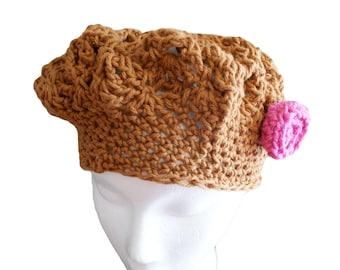 Brown Cotton Crochet Hat, Womens Beret, Brown Cotton Tam, Spring Fashion Hat, Summer Hat, Crochet Beret, Spring Beanie, Mom Gift, Womens Cap