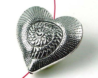 Silver Pewter Heart Focal Bead 30mm - Lead-Free - (p109)