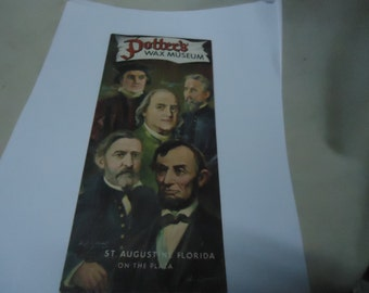 Vintage 1950's Potter's Wax Museum Brochure St. Augustine Florida, collectable, paper