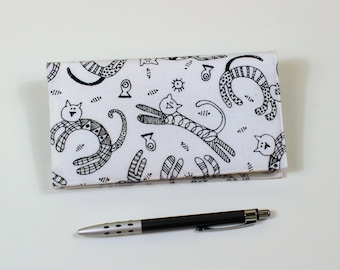 READY TO SHIP - Cats Checkbook Cover for Duplicate Checks with Pen Holder, Black Cats on White Cotton Fabric