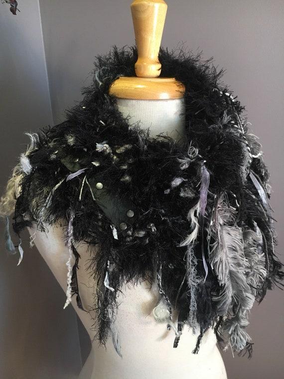 Handknit Shag Art Boho Cowl with leather embellishment, 'Fetish' Series, Knit Collar, Black grey white cowl with fringe, steampunk, fur