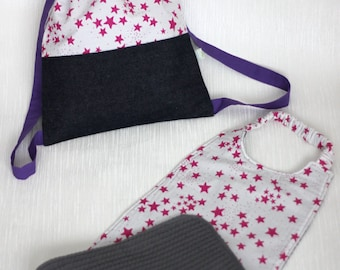 Bag backpack elasticated towel - child's backpack and matching - towel and cotton lined and personalized White Star roses