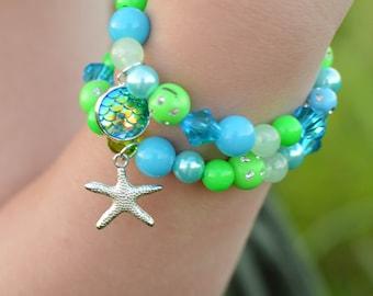 SET of TEN, mermaid bracelet, starfish bracelet, stacking bracelet, (5 of each), kids birthday party, kids bracelet, kids jewelry.