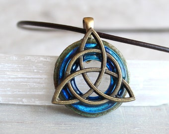 sky blue triquetra necklace, mens jewelry, celtic jewelry, boyfriend gift, mens necklace, unique gift, irish jewelry, mens gift, wiccan