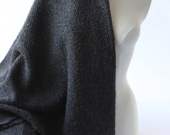 Black chunky warm French woven wool