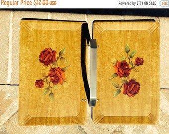 Summer Sale Vintage Haskelite Folding Rose TRay