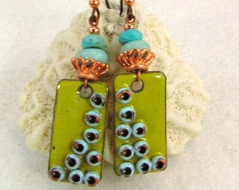 POPPIES AlisonPage Enamel Copper and Faceted Turquoise Earrings (ER 551)