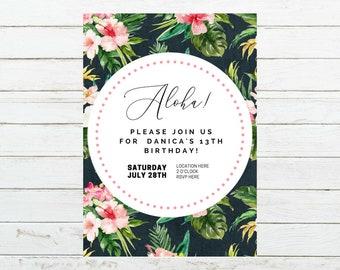 Aloha Birthday Invitation, Party Invitation, Luau Invitation, Hawaiian Invitation, Tropical Invitation, Personalized Printable Digital