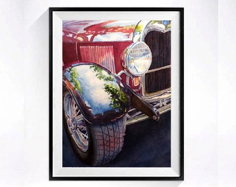 Vintage Cars Auto Art Classic car art print Red Hot Rod Fine art watercolor print Man cave Gift for Him, WatercolorByMuren A
