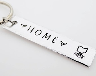 Personalized Hand Stamped Key Chain  Choose your State  Home  USA  Unisex  Gift for him Gift for her home is where the heart is going away