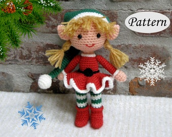Christmas Xmas ELF GIRL - Amigurumi Pattern Crochet Doll Pattern - Photo Tutorial - PDF - Plush Doll Girl