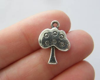 6 Apple tree charms antique silver tone T90