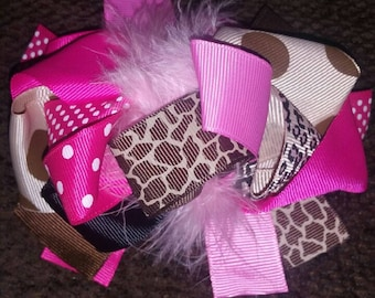 5 inch OTT bow feather/pink/alligator clip/animal print
