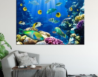 Tropical fish in the ocean canvas print underwater fish photo art wall decor canvas print fish art tropical ocean wall decor ready to hang
