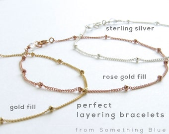 Satellite Chain Bracelet • Simple Minimal Bracelet • Modern Jewelry • Stacking Bracelet • Perfect Layering Bracelet • Silver • Gold • Rose