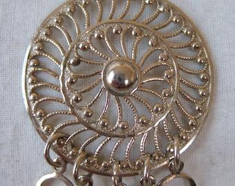 Filigree Necklace Gold Circle Dangle Pendant Vintage