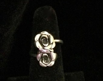 ON SALE Vintage Sterling Silver Wrap Around Rose Ring