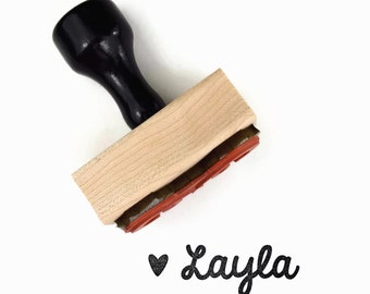 Rubber Stamp Custom Mini Cursive Name (up to 12 letters) | Heart Cursive Personalized Customized Gift