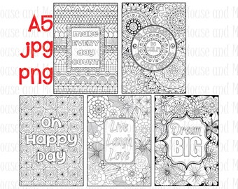 5 Pack of A5 'Inspirational / Motivational Quotes' Digital Stamps, Adult Colouring Pages, Planner Inserts, plus FREE Colouring Cards