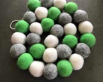 Felt ball garland, pom pom garland, pom pom decor, felt ball decor, felt ball garland green, pom pom garland nursery, boy nursery decor